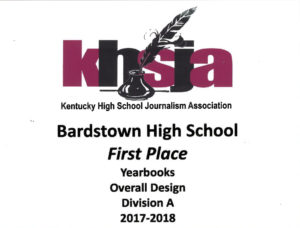 KHSJA 2018 1st Place Overall Design Division A plaque