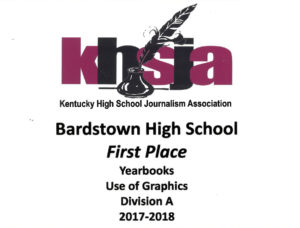 KHSJA 2018 1st Place Use of Graphics Division A plaque