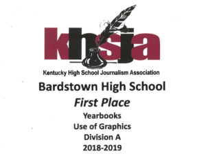KHSJA 2019 1st Place Use of Graphics Division A plaque