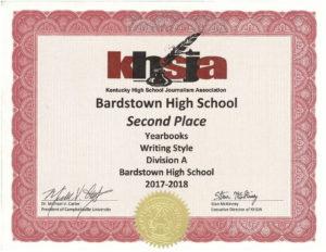KHSJA 2018 2nd place writing style A certificate