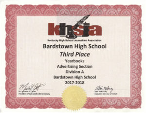 KHSJA 2018 3rd Place Advertising Division A certificate