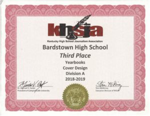 KHSJA 2019 3rd Place Cover Design Division A certificate