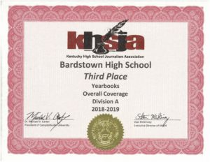 KHSJA 2019 3rd Place Overall Coverage Division A certificate