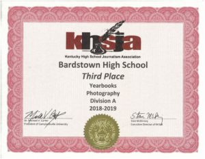 KHSJA 2019 3rd Place Photography Division A certificate