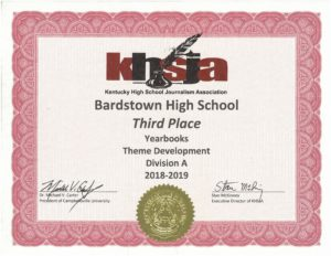 KHSJA 2019 3rd Place Theme Development Division A certificate