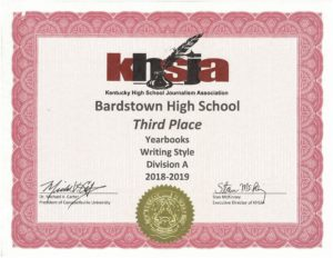 KHSJA 2019 3rd Place Writing Style Division A certificate
