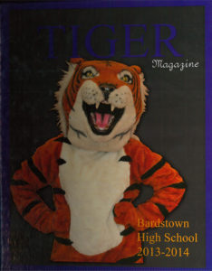 """BHS 2014 yearbook cover """"Tiger Magazine"""""""